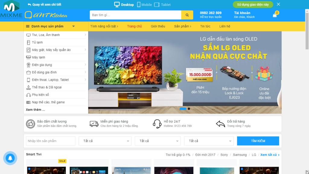 Thiết kế giao diện website cân xứng, màu sắc hài hòa